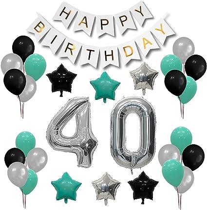 Amazon.com: Juego de decoración para fiesta de 40 cumpleaños ...