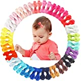 50Pcs 2Inch Mini Hair Clips for Baby Fine Hair Grosgrain Ribbon Hair Bows Clips Fully Lined for Baby Girls Infants…