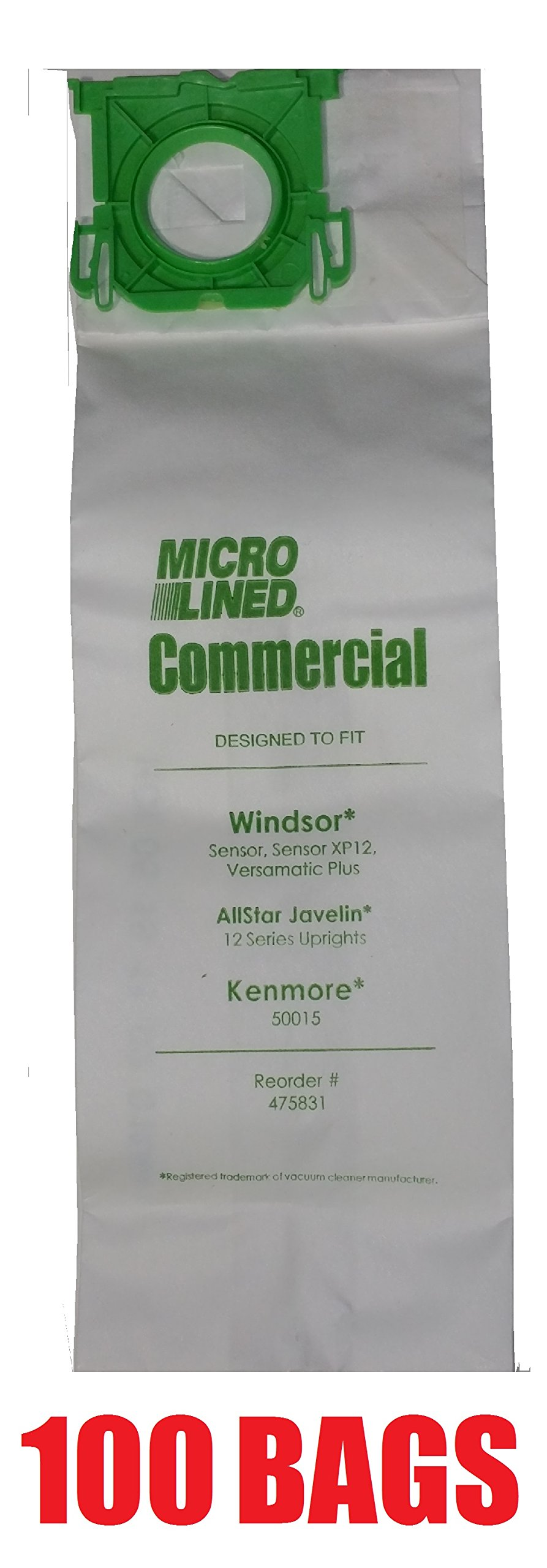 100 Sebo, Windsor Sensor Micro-Lined Commercial Upright Vacuum Bags, Fits 5093AM, 5300. 100 Pack. by Micro Lined DVC