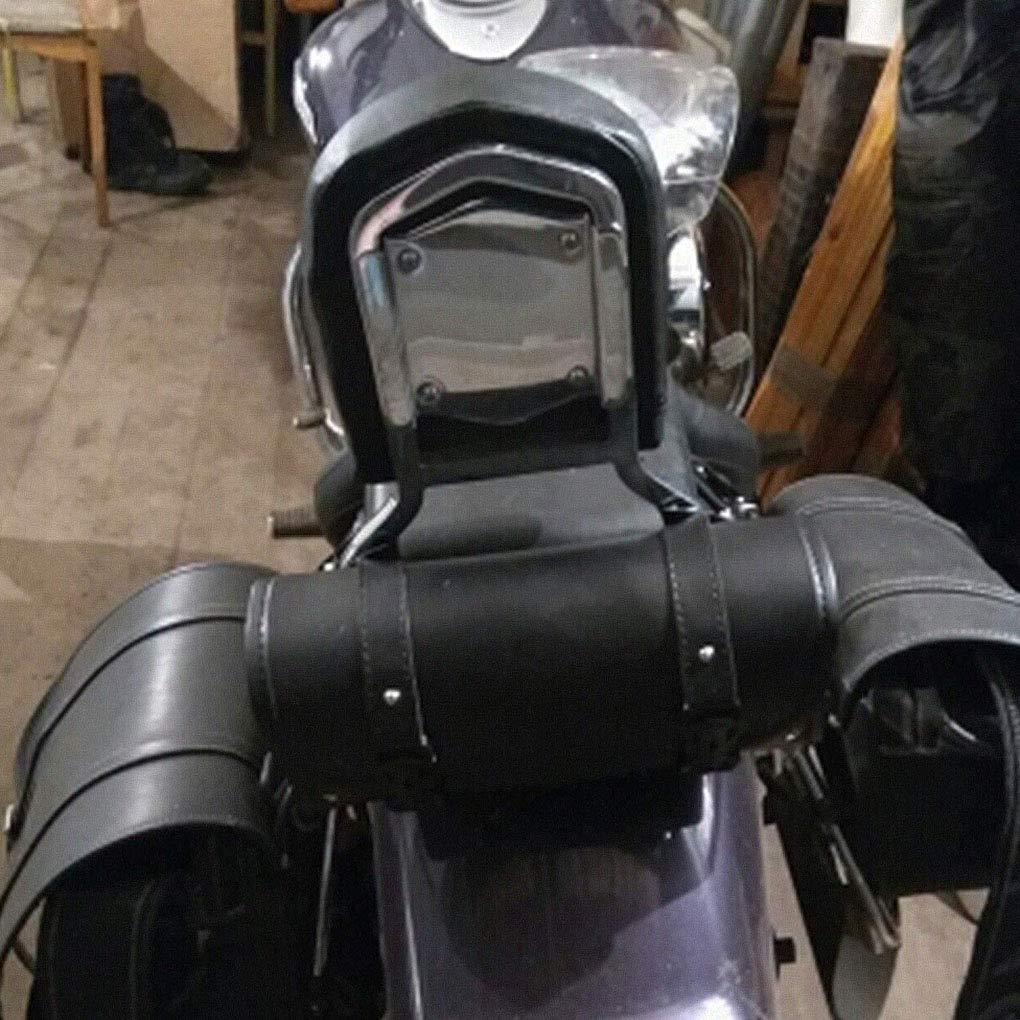 ELENXS Sac Moto Fourche Guidon Outil Pochette en Cuir Rouleau Baril Sacs pour Yamaha Honda Kawasaki