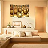 999Store Multiple frames printed sunboard Buddha golden wall art panels for living room painting - 5 Frames (130 X76 Cms)