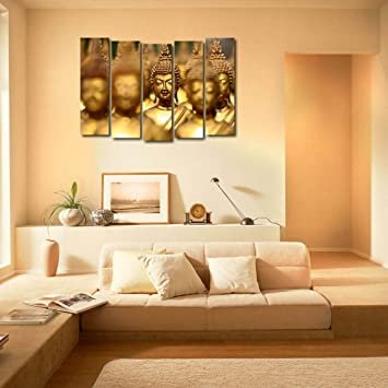 999Store Multiple Frames Printed Wooden Golden Buddha Wall Art Panels For Living  Room Painting   5