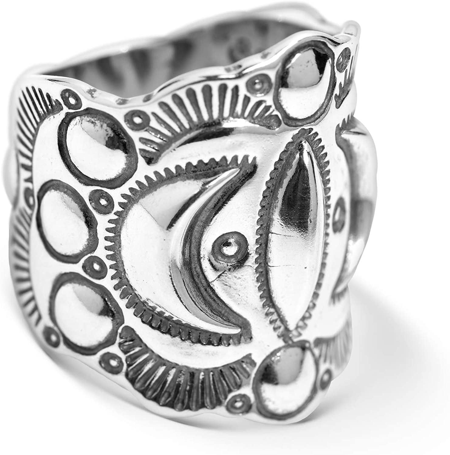 American West Sterling Silver Fritz Casuse Designed Moon Raised Relief Wide Band Ring Size 7 to 13