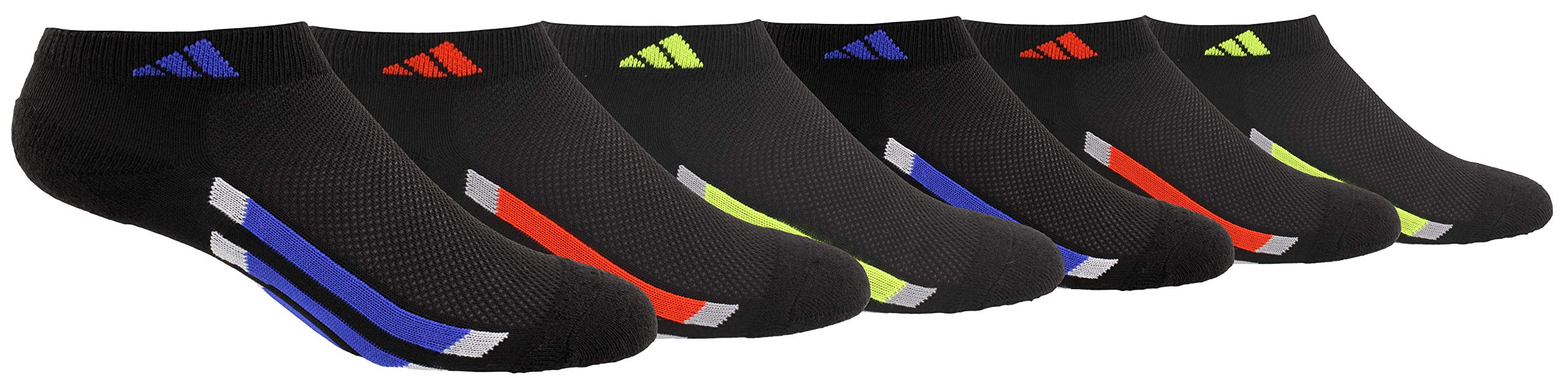 adidas Youth Kids-Boy's/Girl's Cushioned Low Cut Socks (6-Pair), Black/Active Blue/Light Onix Black/Active Red/Ligh, Medium, (Shoe Size 13C-4Y) by adidas
