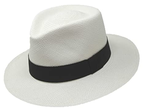34b245a71308 TOQUIFINA Straw Panama Hat from Ecuador for Man Women with Black Band and  Wide Brim for