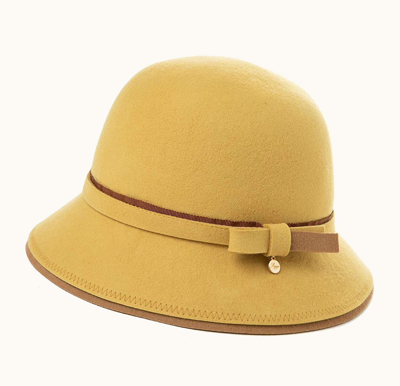 Jeff /& Aimy Women Winter Wool Felt Cloche Hat Ladies 1920s Vintage Bowler Bucket Hat Warm Soft