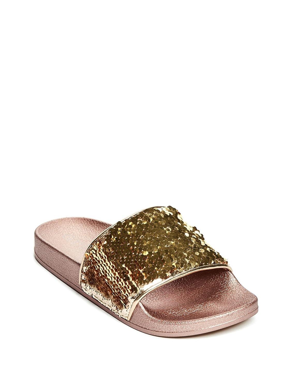 54e7ed4f7979 Amazon.com: GUESS Factory Kids Arielita Girl's Sequin Slide Sandals:  Clothing