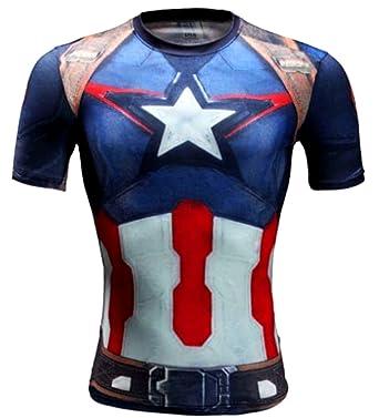 A. M. Sport Camiseta Hombre Compresion de Super Heroes para ntrenar, Running, Lucha y gimansio. Licras (Capitan America Tirantes) - S: Amazon.es: Ropa y ...