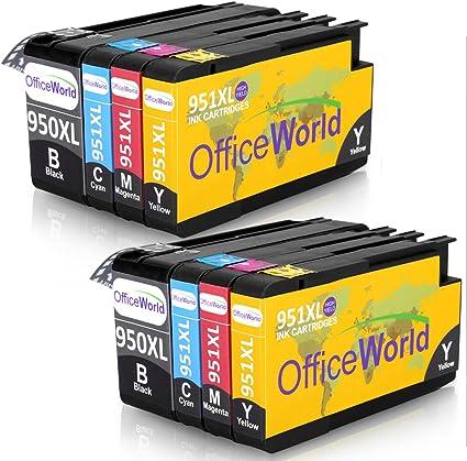 OfficeWorld Reemplazo para HP 950XL 951XL Cartuchos de tinta Alta Capacidad Compatible para HP Officejet Pro 8600 8610 8620 8630 8640 8660 8615 8625 8100 251dw 276dw (2 Negro, 2 Cian, 2 Magenta, 2 Amarillo): Amazon.es: Oficina y papelería