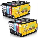 OfficeWorld Reemplazo para HP 950XL 951XL Cartuchos de tinta Alta Capacidad Compatible para HP Officejet Pro 8600 8610 8620 8630 8640 8660 8615 8625 8100 251dw 276dw (2 Negro, 2 Cian, 2 Magenta, 2 Amarillo)