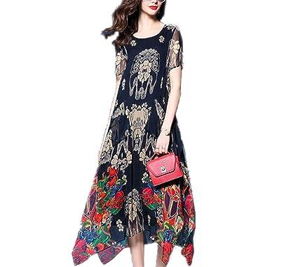 4c4a5aa046 buttercupgoods Summer Chiffon Long Dresses Loose O-Neck Short Sleeve  Irregular S