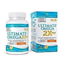Nordic Naturals Ultimate Omega 2X Mini D3, Lemon Flavor - 1120 mg Omega-3 + 1000 IU Vitamin D3-60 Mini Soft Gels - Omega-3 Fish Oil - EPA & DHA - Promotes Brain & Heart Health - 30 Servings