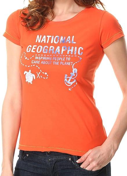 National Geographic Camiseta - Para Mujer Naranja Naranja/Azul Marino S