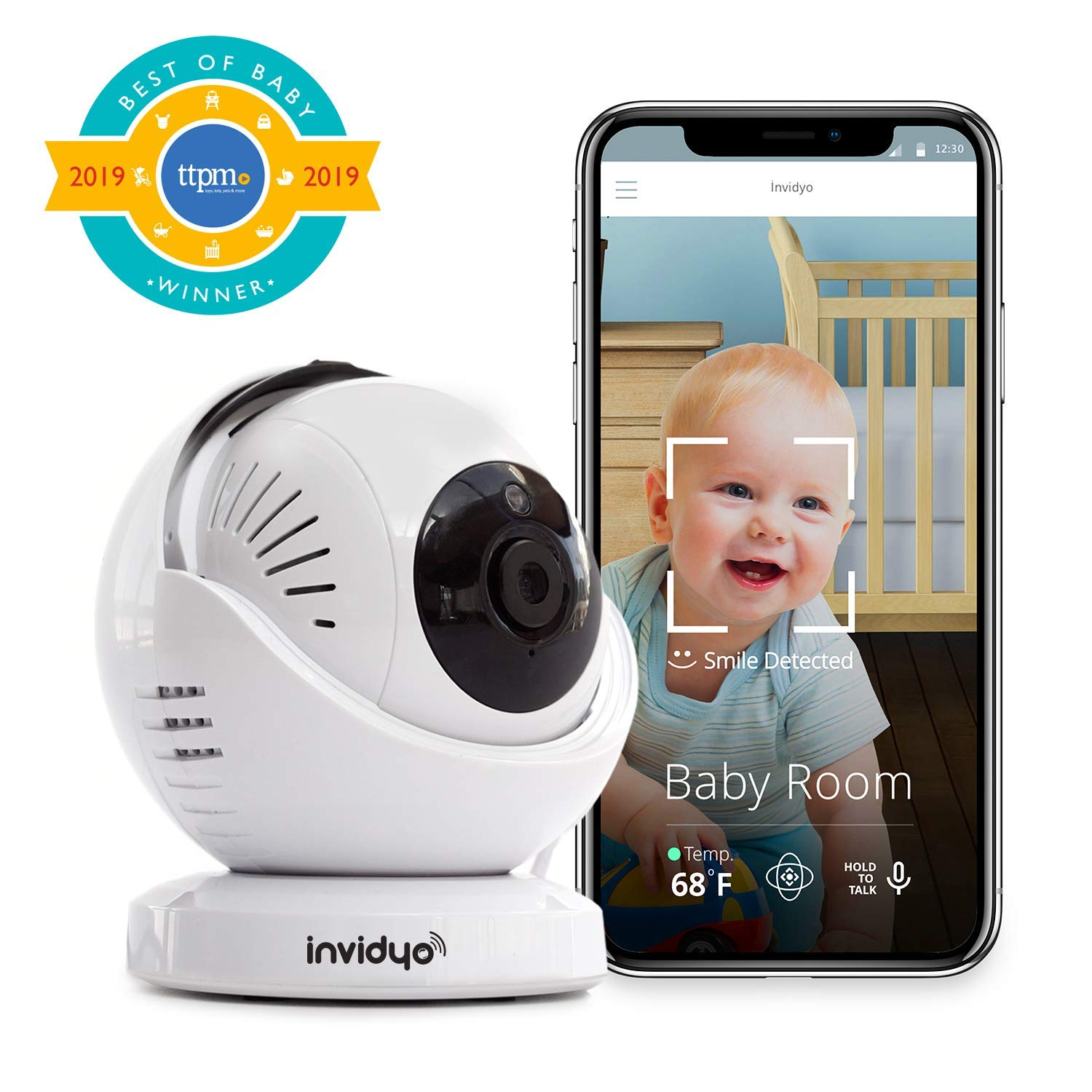 invidyo – WiFi Baby Monitor with Live Video and Audio Cry Detection Stranger Alerts 1080P Full HD Camera, Night Vision, Two Way Talk, Temperature Sensor Remote Pan Tilt via Smart Phone App
