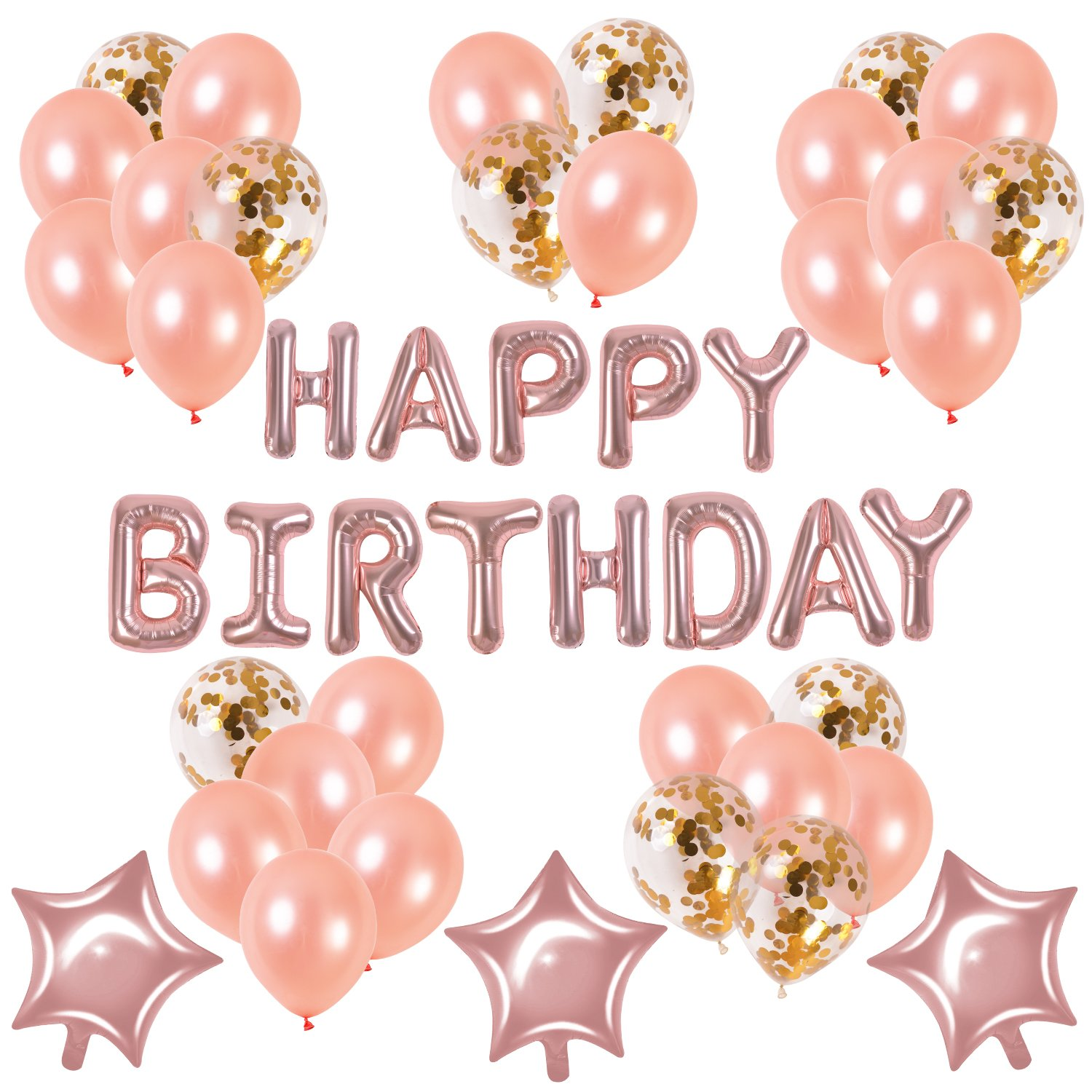 Rose Gold Happy Birthday Balloons Set–Baby Child Adult Cute Party Supplies Birthday Celebration Decorations Latex Confetti and Star Balloons+''HAPPY BIRTHDAY'' Letters Balloon String (happy birthday)