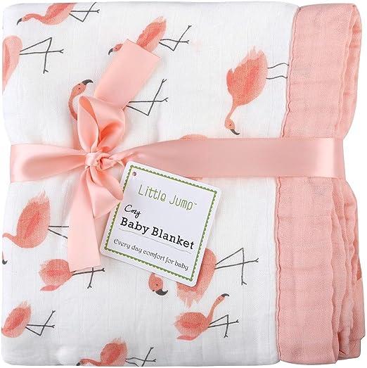 Flamingo Manta de bebé – 2 capas grandes paños de muselina para ...