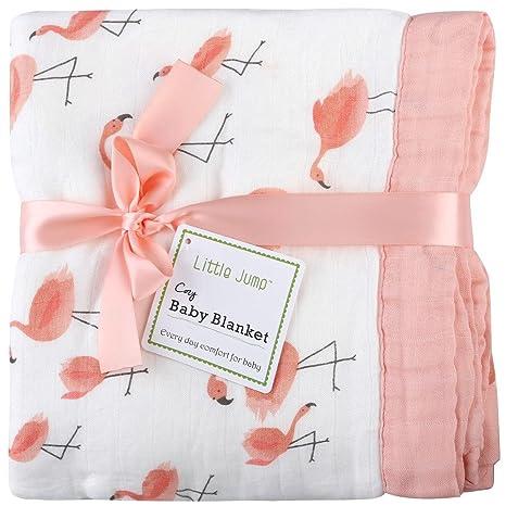 Manta de muselina para bebé, 4 capas, estampado flamenco, bambú, manta de