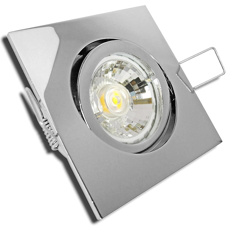 5 Stück MCOB LED Einbauleuchte Cube 230 Volt 3 Watt Schwenkbar Chrom Warmweiß