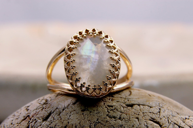 moonstone rainbow ring, rose gold ring, white gemstone ring, feminine ring, pink gold jewelry, gold filled ring