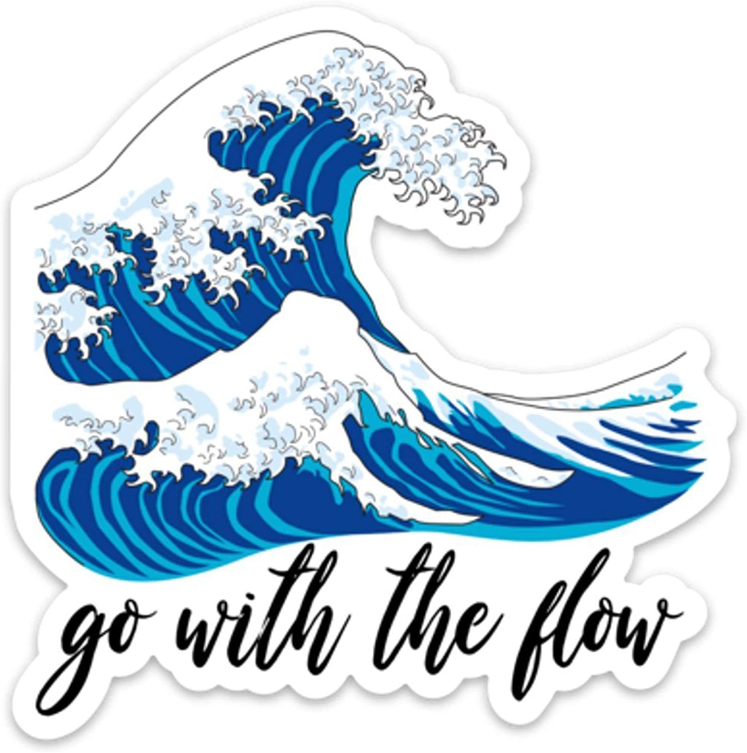 "Stickeroonie Go with The Flow Japanese Kanagawa Wave Vinyl Sticker, Cool Weather & Water Resistant Sticker, 4"" x 4"" Size"
