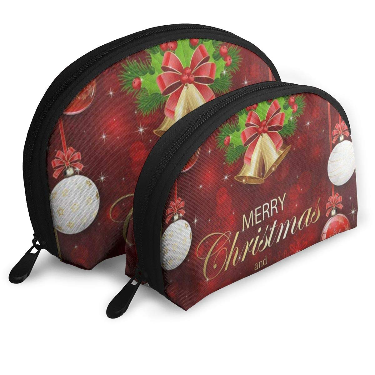 6828983879e6 Amazon.com : Makeup Bag Red Sparkle Snowflake Merry Christmas ...