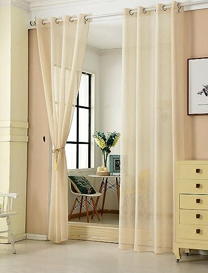 WOLTU® VH5862sd-2, 2er Set Gardinen transparent mit Ösen Leinen Optik,  Doppelpack Ösenschal Vorhang Stores Voile Fensterschal Dekoschal für  Wohnzimmer ...