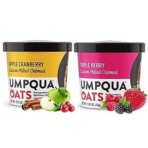 Umpqua Oats - Combo - All Natural, Premium Oatmeal Cups - No Mush, Custom Milled (Apple Cranberry, Triple Berry) 16 cups
