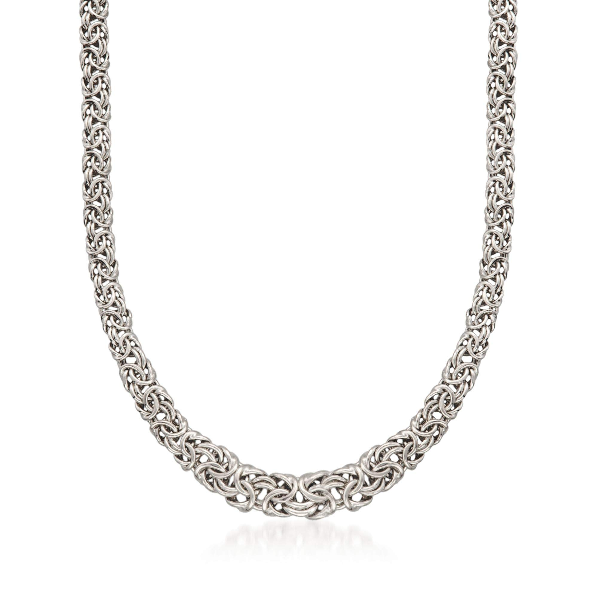 e3398e708fb89 Ross-Simons Italian Sterling Silver Graduated Byzantine Necklace