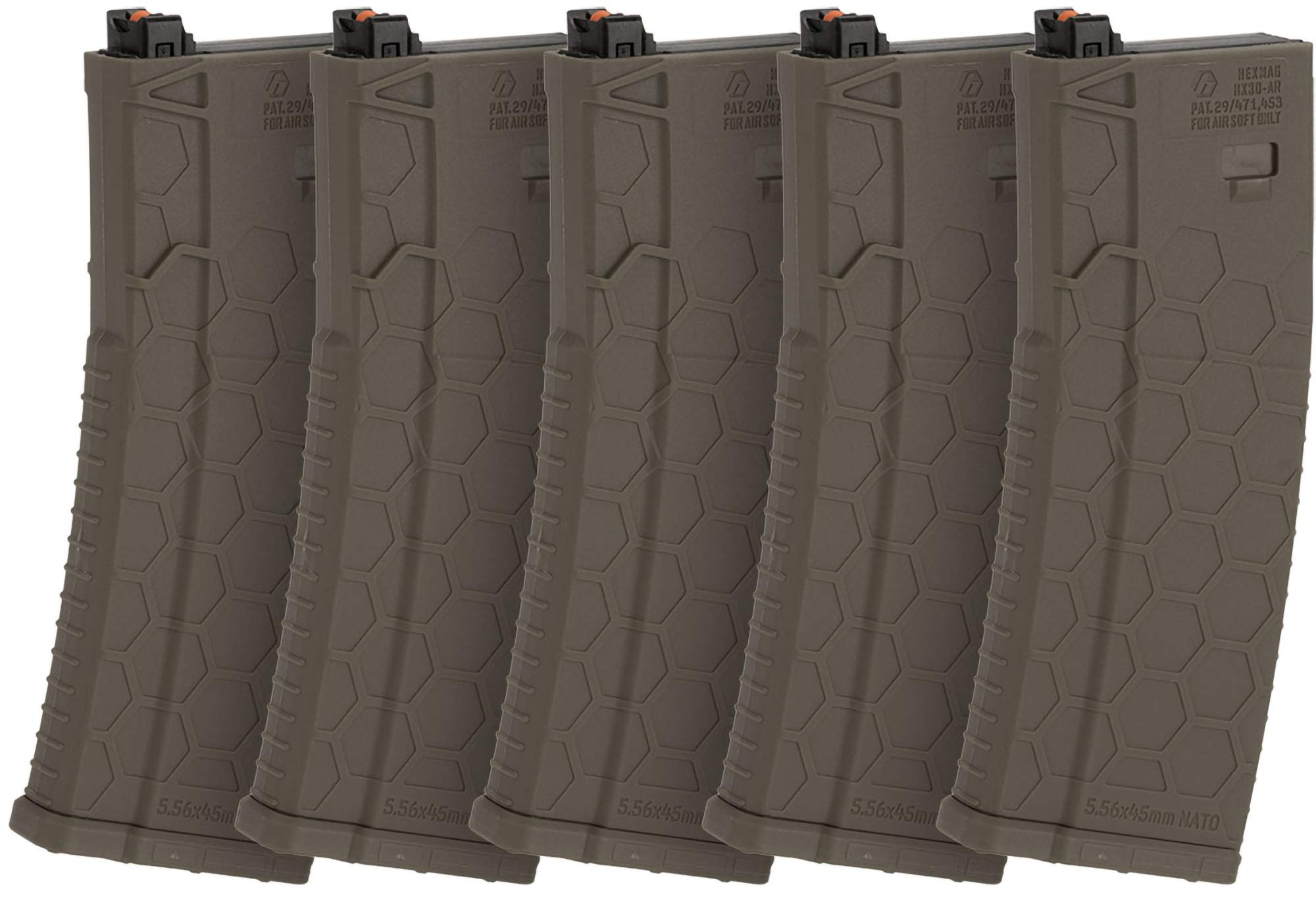 Evike Hexmag Airsoft 120rds Polymer Mid-Cap Magazine for M4 / M16 Series Airsoft PTW Rifles - Box of 5 (Color: Flat Dark Earth) by Evike