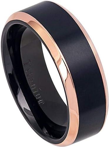 Titanium Wedding Band Ring 8mm Black Brushed Rose Tone Beveled Edge Ring