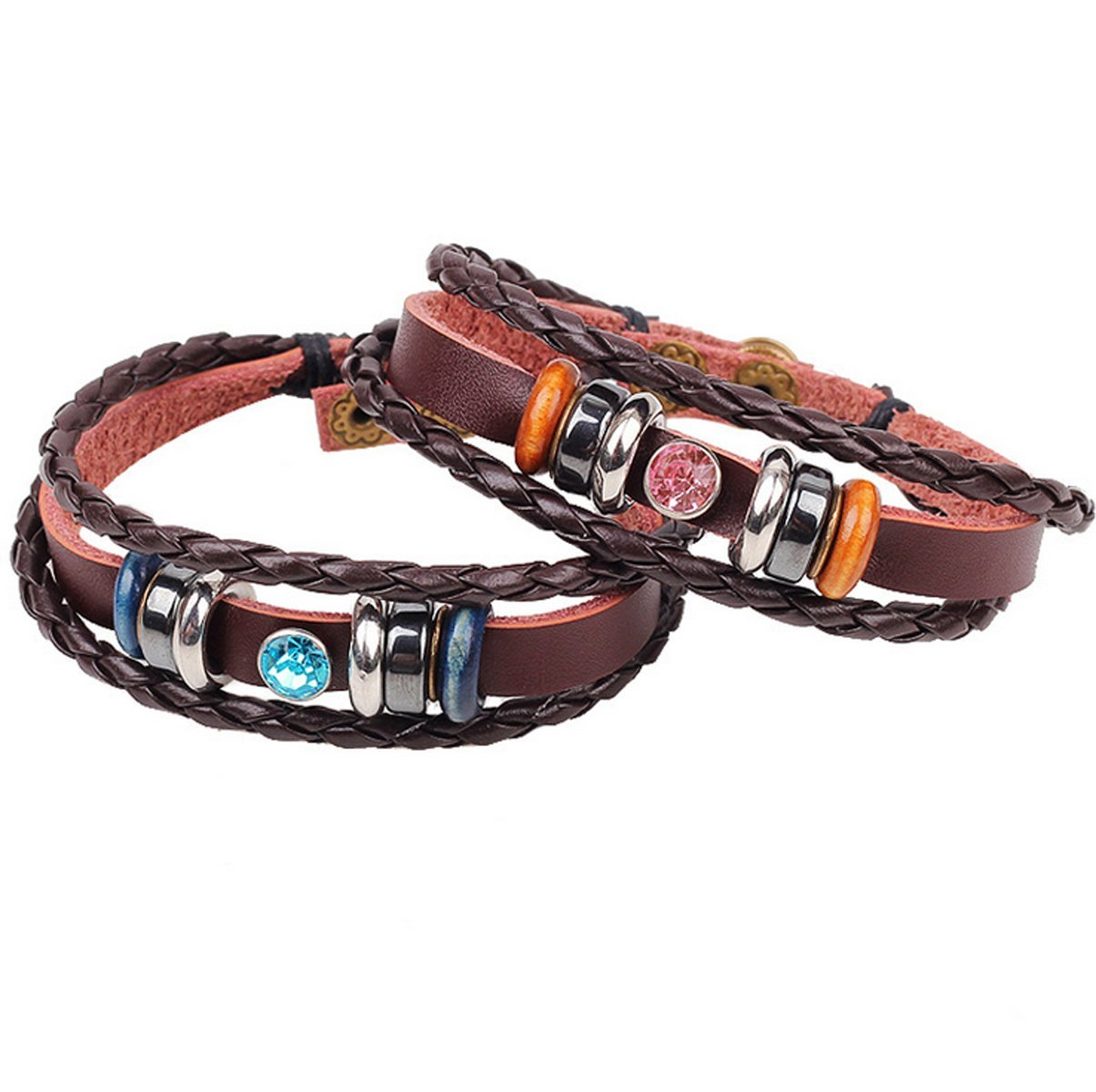 Distance Couples Bracelets Friendship Bracelets Relationship His and Hers Bracelets Jewelry Long Distance Relationship Gift for Lover Wedding, (Leather gemstone)