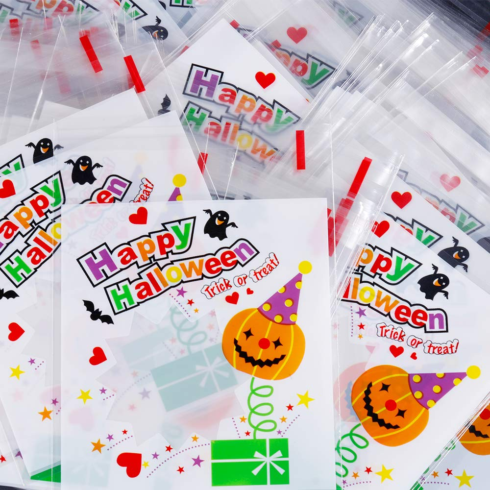 Nabance 100PCS Cookie Bags Halloween Candy Bags Self Adhesive Pumpkin Candy Storage Bag