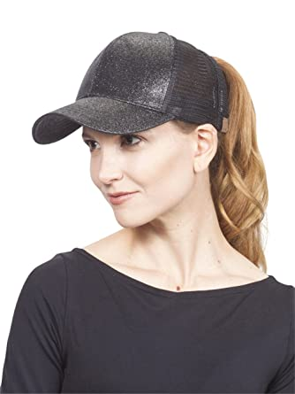 2abb87b41f6 C.C Ponycap Messy High Bun Ponytail Adjustable Glitter Mesh Trucker Baseball  Cap