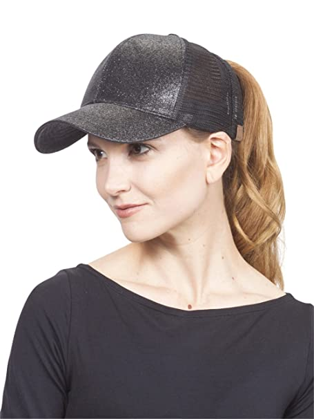 555d5617b4253e Glitter Pony Tail Outlet Mesh Adjustable Hat, Black at Amazon ...