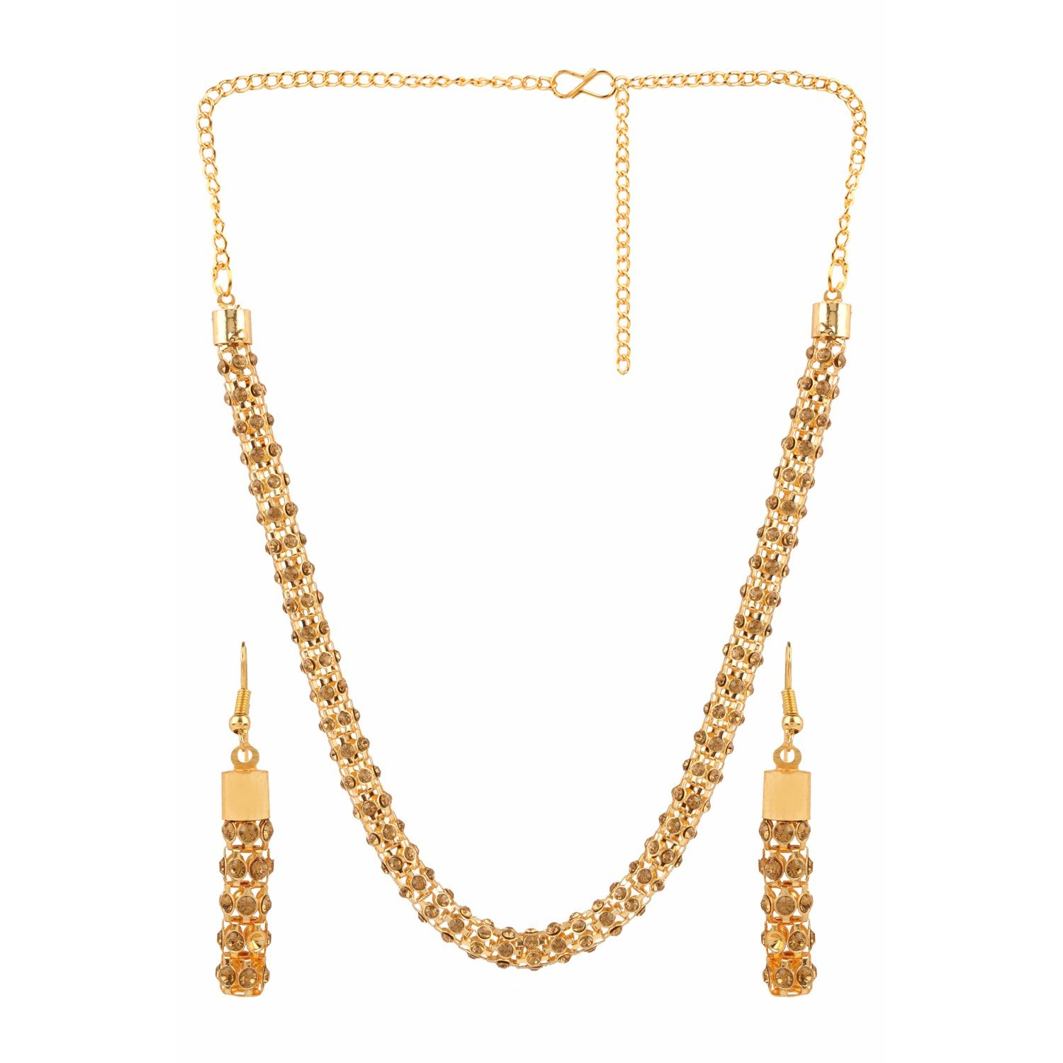 Efulgenz Handcrafted Simulated Rhinestone Beaded Classic Round Chunky Collar Strand Necklace Set Costume Fashion Accessories for Women and Girls