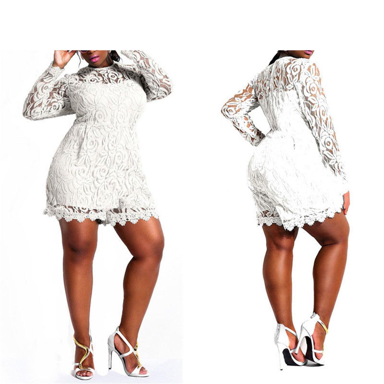 Rompers Plus Size Jumpsuit XXL XXXL XXXXL Clubwear Playsuit White/Black/Red