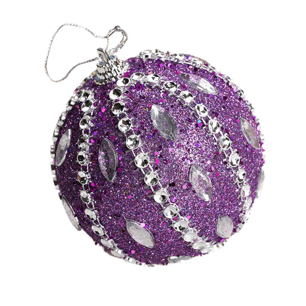 Christmas Tree Decoration Christmas Ball Ornaments Decoration Tree Balls for Holiday Wedding Party Decoration (8cm in Diameter) (Purple)