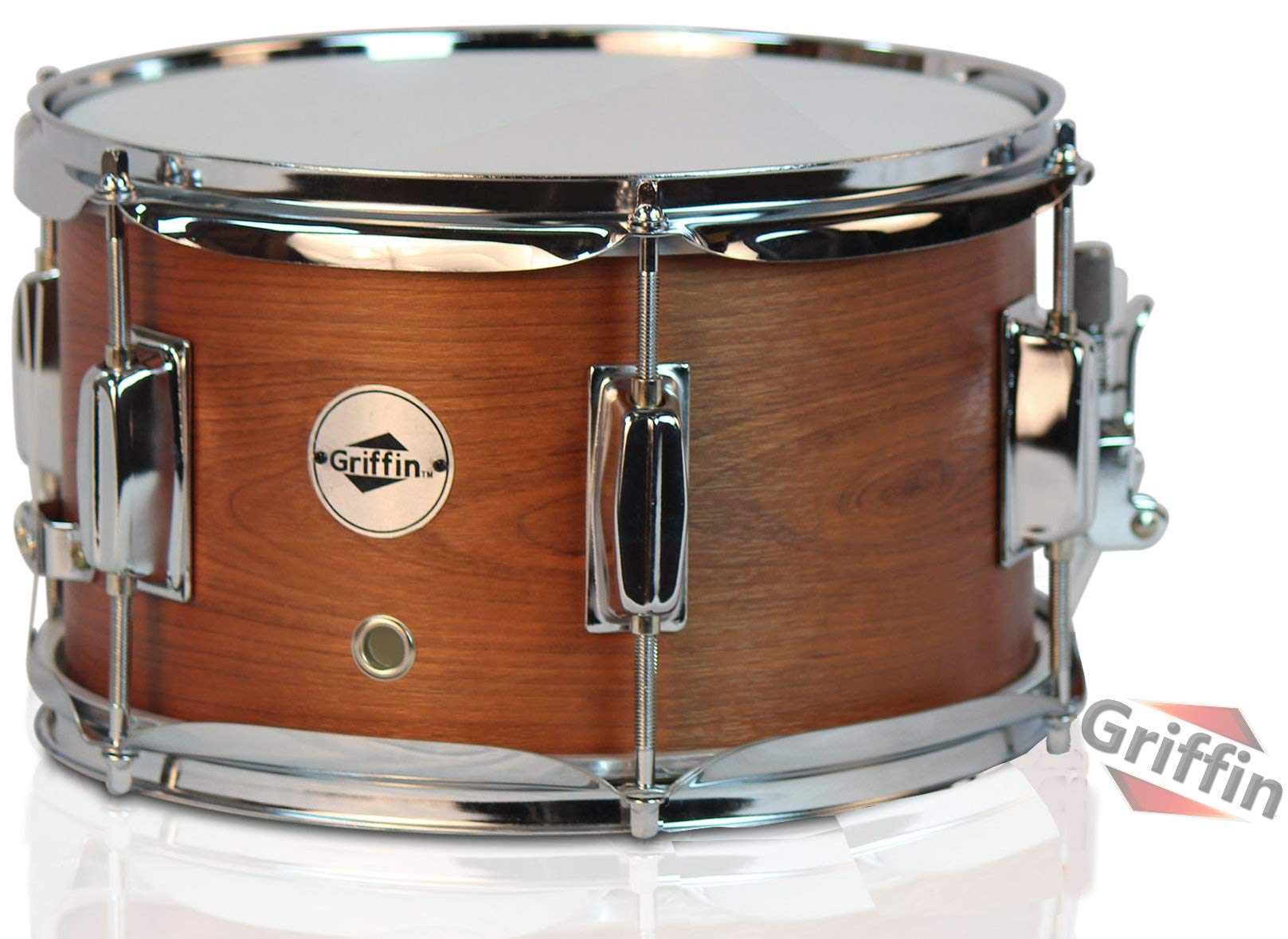 Popcorn Snare Drum by Griffin Soprano Firecracker 10'' x 6'' Poplar Wood Shell with Hickory PVC Concert Percussion Musical Instrument with Drummers Key and Deluxe Snare Strainer Beginner & Professional