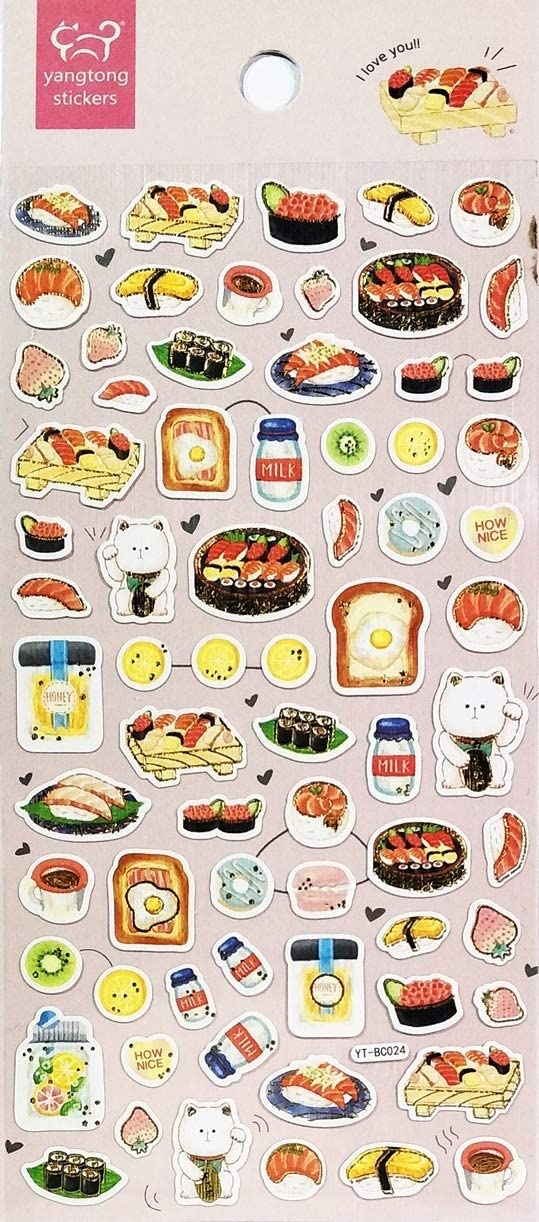 PARITA 1 Sheet Cute Cat Welcome Japanese Sushi Food Cartoon Stickers Vinyl Arts and Crafts for Kids Children Design Decoration Birthday Card Diary Gifts Reward Teacher Students (07)