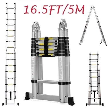 Telescopic Ladder 16.5Ft 5M Multi-Purpose Aluminium Telescoping A-Frame Folding Ladder Extension Extendable 330lb Load Capacity EN131 Standard