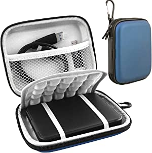 Lacdo Hard Drive Carrying Case for Western Digital WD My Passport Ultra WD Elements SE WD Gaming Drive Portable External Hard Drive 1TB 2TB 3TB 4TB 5TB USB 3.0 2.5 inch HDD Shockproof Travel Bag, Blue