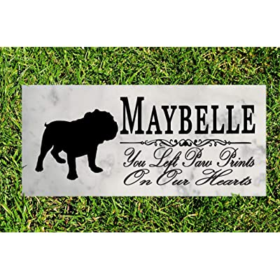 Broad Bay Bulldog Dog Memorial Personalized Stone Marker Gift Custom Garden Marker Memory Sign Outdoor Grave Headstone: Kitchen & Dining