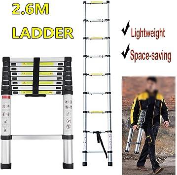 Escalera telescópica de aluminio de 2,6 m con certificado de seguridad EN131, peso ligero, 7,3 kg: Amazon.es: Bricolaje y herramientas
