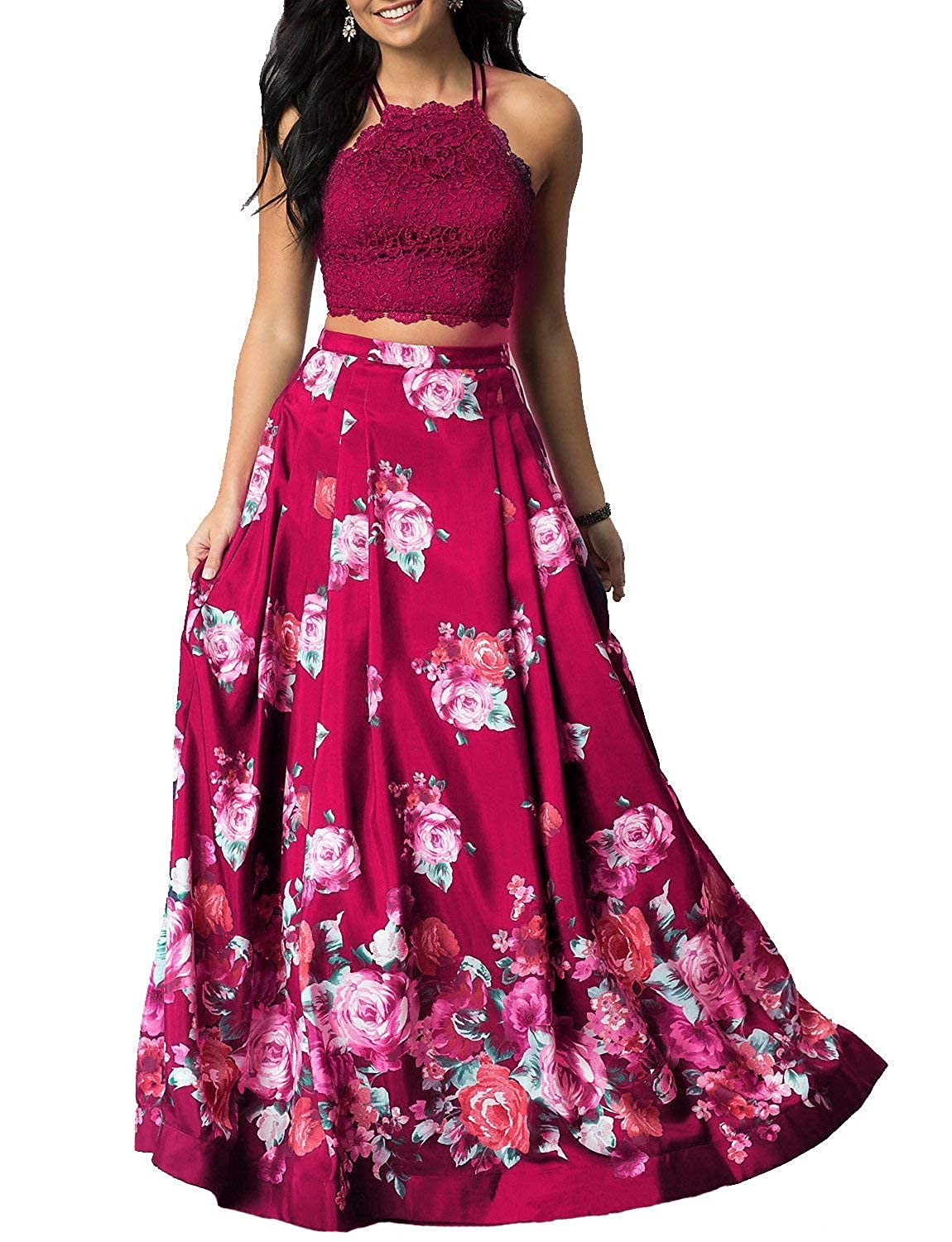 pink Red Sulidi Women's Halter Two Pieces Floral Printed Prom Dresses Long Satin Pleated Evening Formal Gown C095