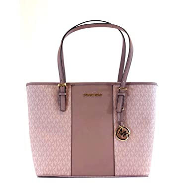 f32270653dd7 Image Unavailable. Image not available for. Color: MICHAEL KORS STRIPE JET  SET MEDIUM CARRYALL SIGNATURE FAWN BALLET
