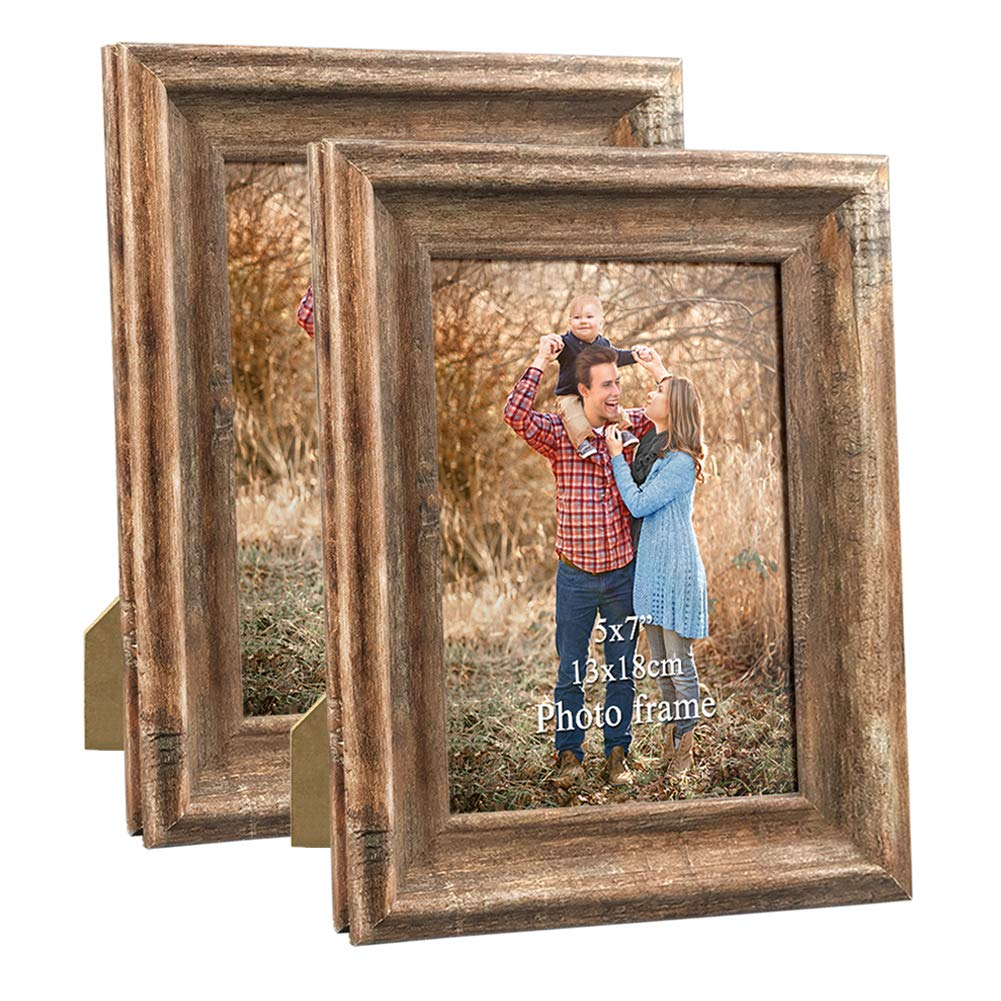 Dreamyard 2-Pack 5x7 Picture Frames Set Vintage Brown Wood Family Art Photo Frame for Tabletop Stand or Wall Hanging by Dreamyard