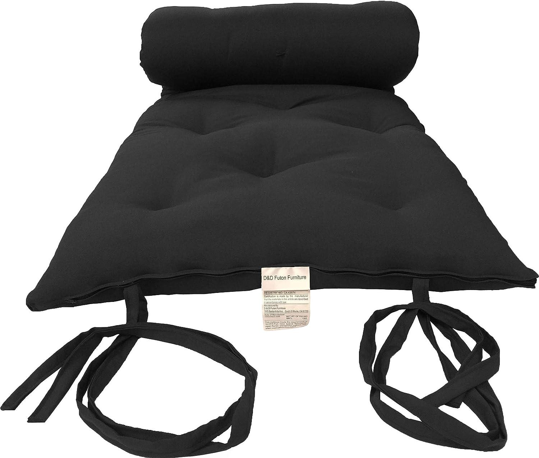 D&D Futon Furniture Cotton/Foam/Fiber Traditional Japanese/Thai Floor Rolling Futon Mattresses, Yoga Meditation Mats, 30Wx80L Black