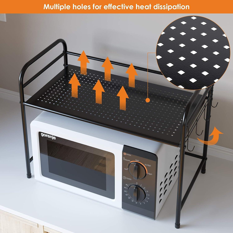 Homfa Estanter/ía de Cocina Soporte para Horno Estante de Almacenamiento para Microondas Metal con 2 Estantes con Ganchos Negro 60 x 31.5 x 46 cm