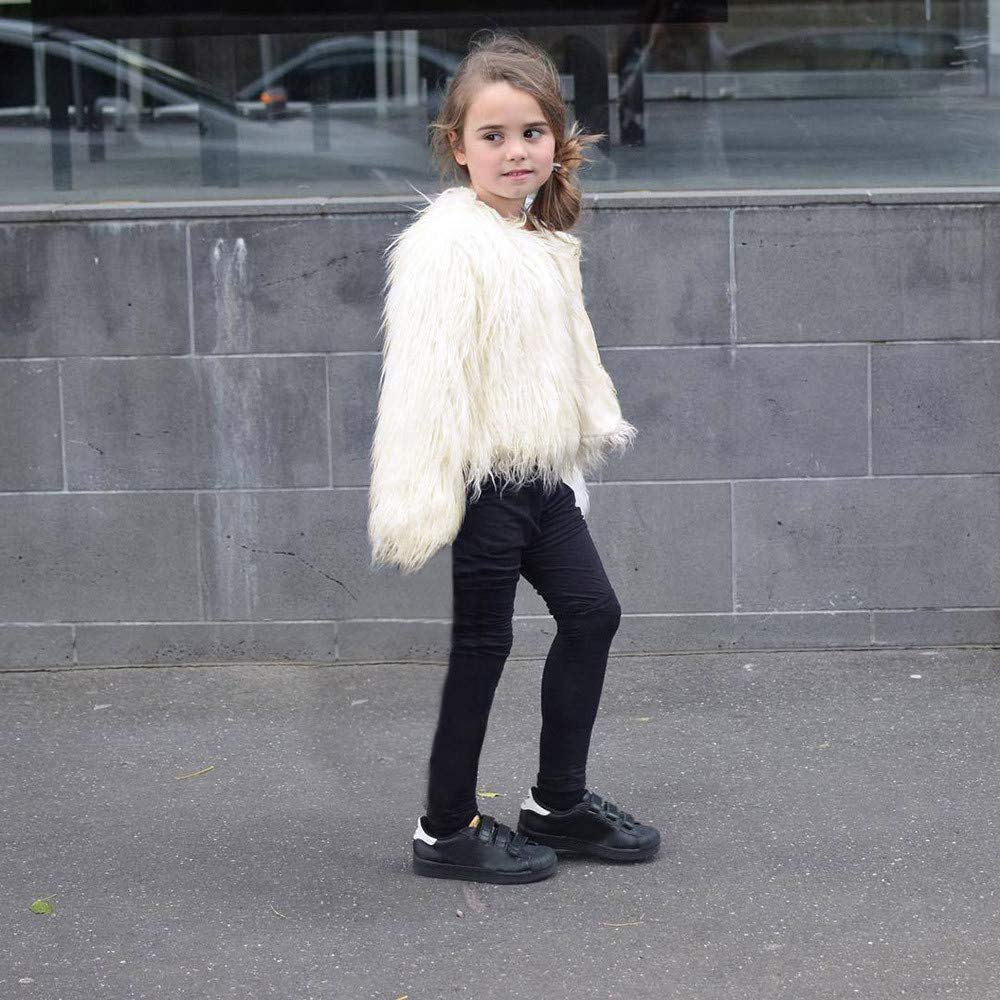 Baby Girl Faux Fur Jackets Winter Coat Toddler Kids Stylish Warm Clothes Outfits Open Front Thick Solid Coat Outwear 1-5 Years Old Babys Short Coat