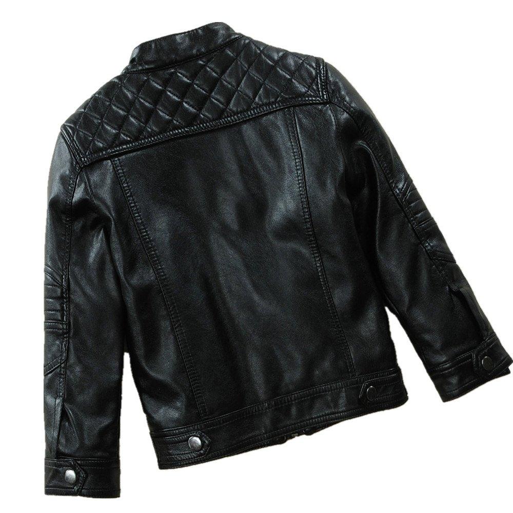LJYH Boys Autumn /& Winter Thicken Motorcylce Faux Leather Jacket Black